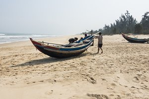 Fisherman Boat on a Sandy Beach