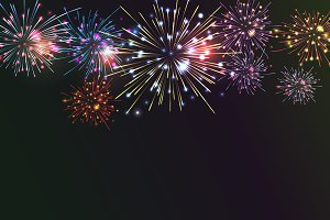 Brightly Colorful Fireworks.