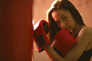 beautiful girl boxing