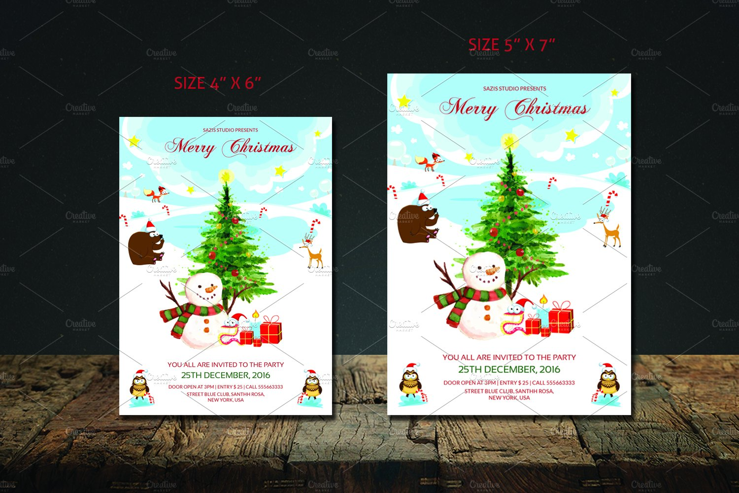 christmas party invitation flyer flyer templates on creative market christmas invitation template v419