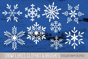 Snowflakes Clipart/ Brushes/Stamps
