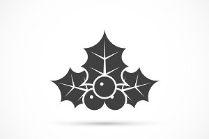 Christmas holly icon flat