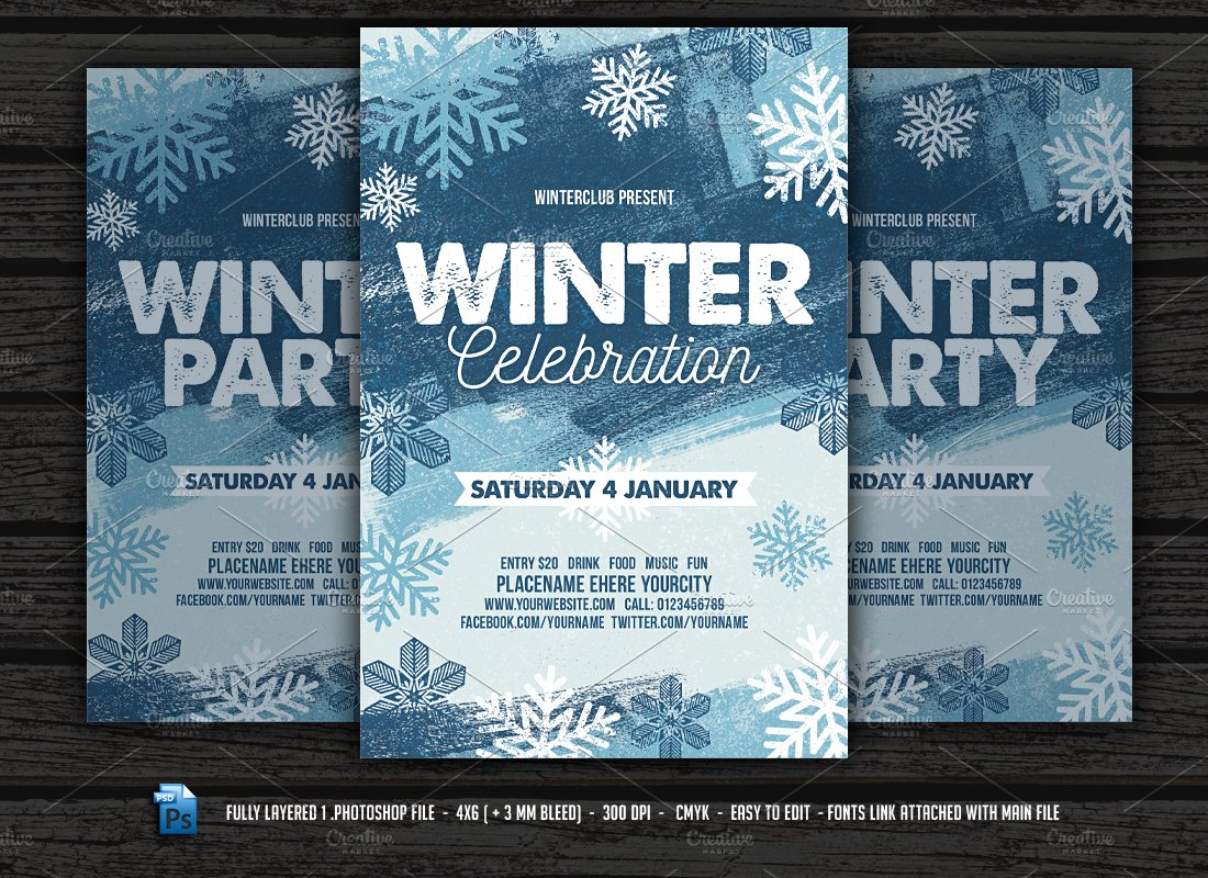 winter party flyer flyer templates creative market