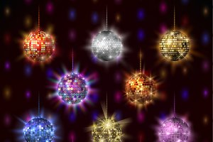Disco balls club sphere vector