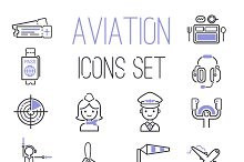 Aviation icons vector set
