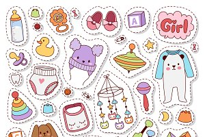 Patch badges with toys vector