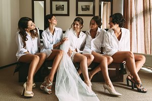 Bride with girlfriends