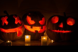 Halloween scary pumpkin faces