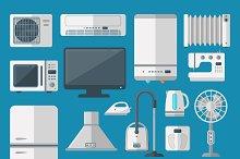 Vector kitchen appliances flat icons
