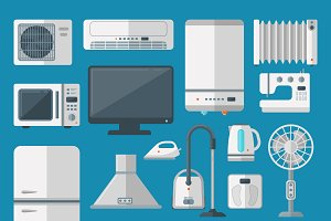 Vector kitchen appliances flat icons