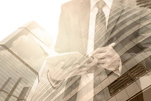 Double exposure of businessman