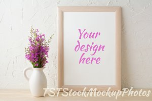 Frame mockup with purple bouquet