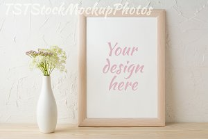 Frame mockup with tender flowers