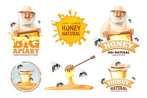 Apiary vector illustrations set