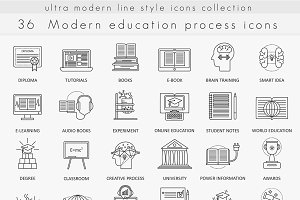 Modern education line icons set.