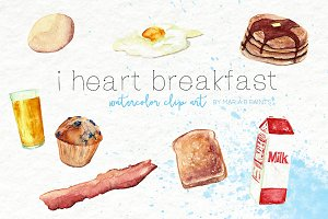 Watercolor Clip Art - Breakfast food