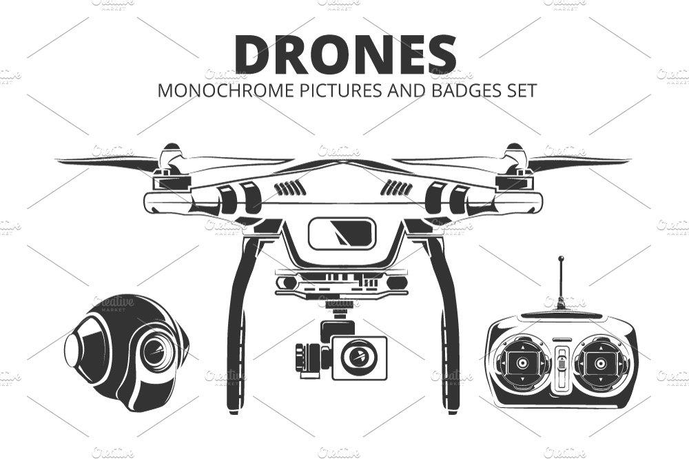Drones. Monochrome badges set ~ Illustrations ~ Creative