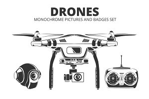 Drones. Monochrome badges set