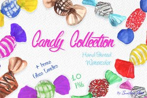 10 hand painted watercolor candies