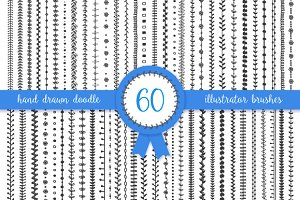 60 doodle vector pattern brushes