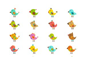 Flat cartoon birds iconset