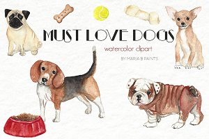 Watercolor Clip Art - Must Love Dogs