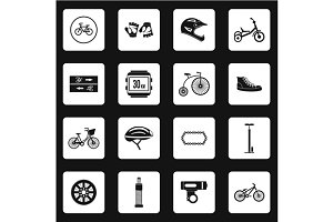 Bicycling icons set, simple style