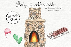 Watercolor Clip Art - Winter