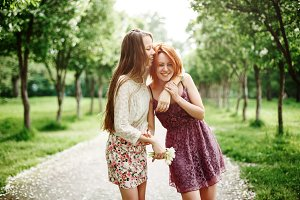 Two Young Happy Girls Having Fun