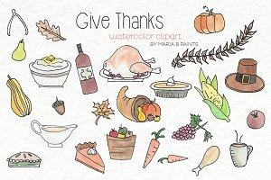 Watercolor Clip Art - Thanksgiving