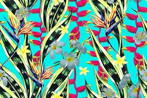 Tropical flowers, leaves pattern