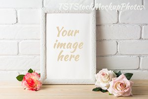 White frame mockup with roses