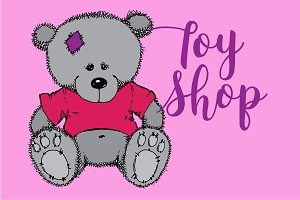 Teddy bear. Toy shop. Vector