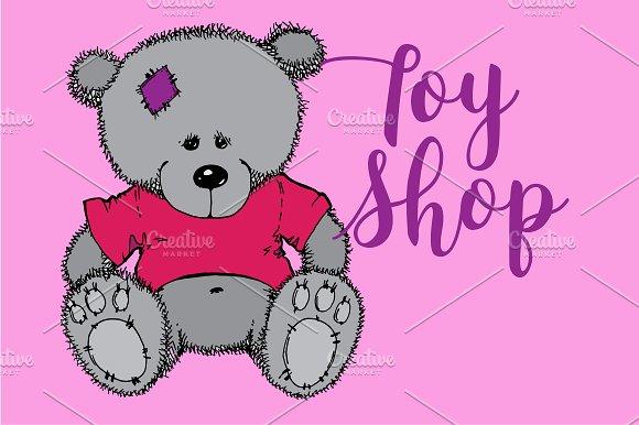 Teddy bear. Toy shop. Vector - Illustrations