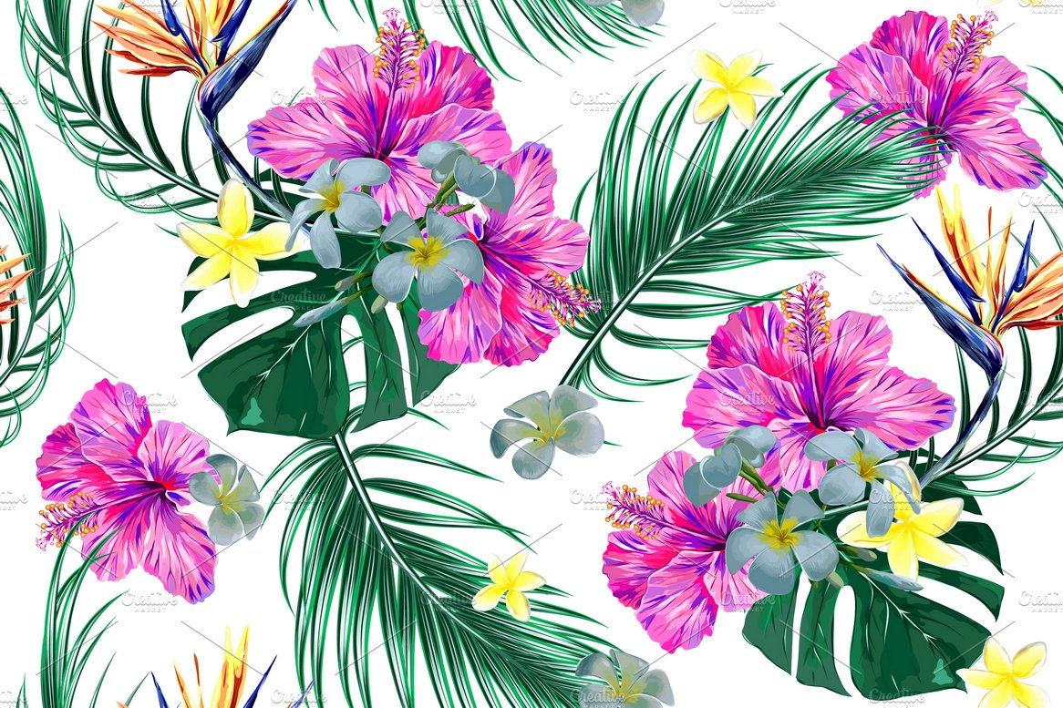 Tropical Leavesflowers Pattern Graphic Patterns Creative Market