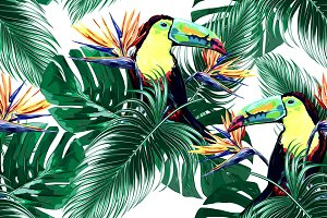 Tropical leaves,toucans pattern