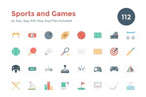112 Flat Games and Sports Icons