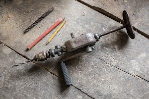 Hand drill on the table