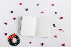 Blank notebook with christmas item