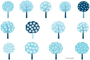 Blue winter trees clip art set