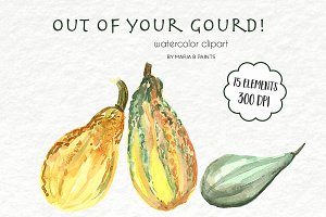 Watercolor Clip Art - Gourds