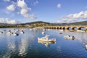 Eume river and town, Galicia, Spain