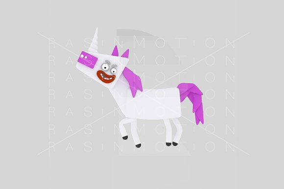 3d illustration. White Unicorn. - Illustrations