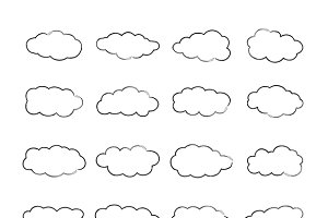 Cumulus clouds set