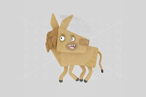 3d illustration. Brown Donkey.
