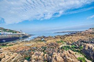 Streets and sea of La Coruña, Spain