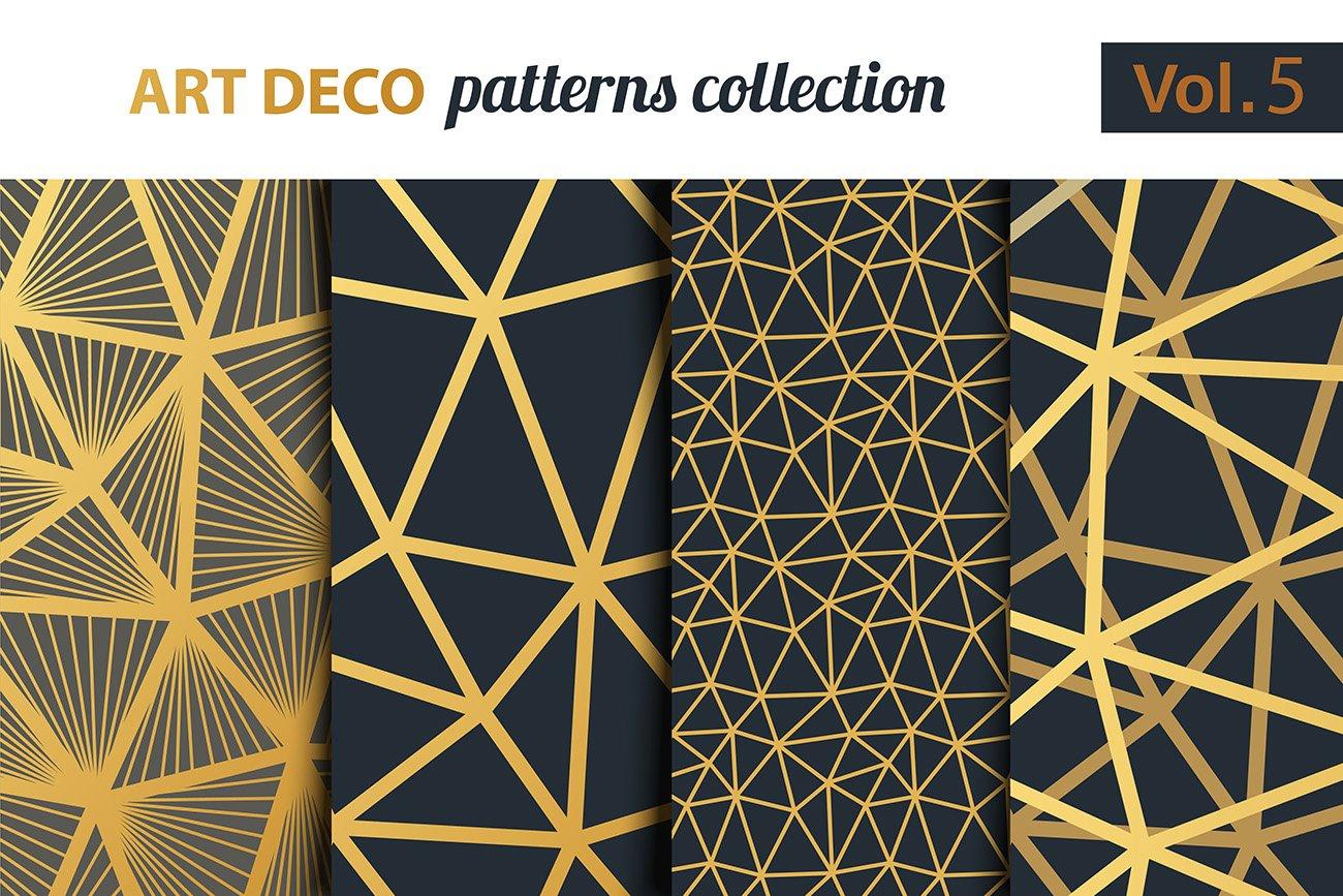 art deco vector patterns set 5 graphic patterns creative market. Black Bedroom Furniture Sets. Home Design Ideas