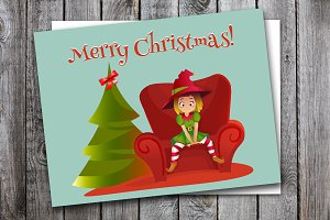 merry christmas card. vector illustr