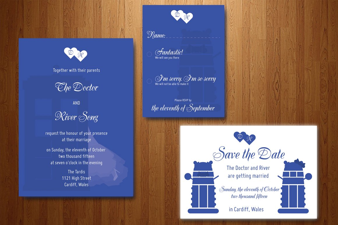 Doctor Who Wedding Invitation Invitation Templates Creative Market – Doctor Who Party Invitations