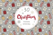 Christmas pattern, card, lettering